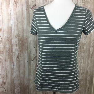 Athleta Dark Green Stripe V-neck Tee Shirt